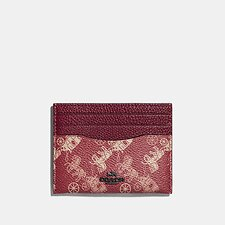 Image of Coach Australia V5/RED DEEP RED CARD CASE WITH HORSE AND CARRIAGE PRINT
