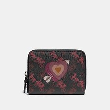 Image of Coach Australia V5/BLACK OXBLOOD SMALL ZIP AROUND WALLET WITH HORSE AND CARRIAGE PRINT AND HEART