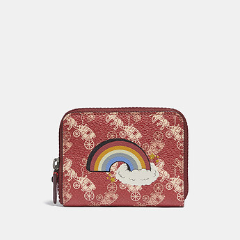Image of Coach Australia  SMALL ZIP AROUND WALLET WITH HORSE AND CARRIAGE PRINT AND RAINBOW