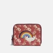 Image of Coach Australia V5/RED DEEP RED SMALL ZIP AROUND WALLET WITH HORSE AND CARRIAGE PRINT AND RAINBOW
