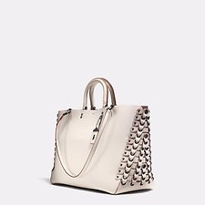 Picture of ROGUE TOTE IN GLOVETANNED CALF LEATHER WITH COACH LINK DETAIL