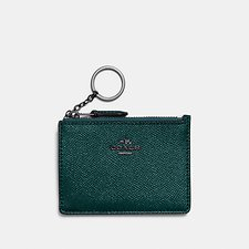 Image of Coach Australia DK/METALLIC IVY MINI SKINNY ID CASE IN METALLIC CROSSGRAIN LEATHER