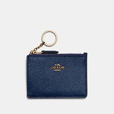 Image of Coach Australia GD/METALLIC BLUE MINI SKINNY ID CASE IN METALLIC CROSSGRAIN LEATHER