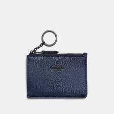 Image of Coach Australia GM/METALLIC MIDNIGHT NAVY MINI SKINNY ID CASE IN METALLIC CROSSGRAIN LEATHER