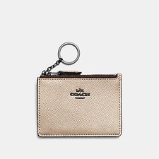 Image of Coach Australia GM/PLATINUM MINI SKINNY ID CASE IN METALLIC CROSSGRAIN LEATHER