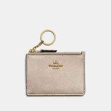 Image of Coach Australia LI/PLATINUM MINI SKINNY ID CASE IN METALLIC CROSSGRAIN LEATHER