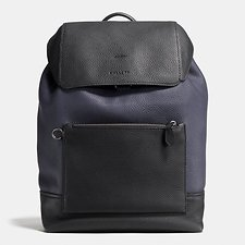 Image of Coach Australia MIDNIGHT/BLACK MANHATTAN BACKPACK IN COLORBLOCK PEBBLE LEATHER