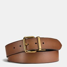 Image of Coach Australia DARK SADDLE/BLACK JEANS BUCKLE CUT-TO-SIZE REVERSIBLE BURNISHED LEATHER BELT