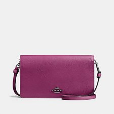 Image of Coach Australia GM/DARK BERRY FOLDOVER CROSSBODY CLUTCH IN POLISHED PEBBLE LEATHER