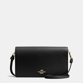 0057303a9e84 Image of Coach Australia FOLDOVER CROSSBODY CLUTCH IN POLISHED PEBBLE  LEATHER