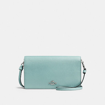 Image of Coach Australia  FOLDOVER CROSSBODY CLUTCH IN POLISHED PEBBLE LEATHER