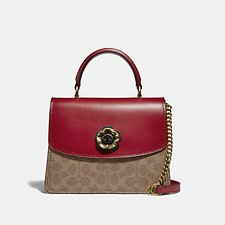 Image of Coach Australia B4/TAN RED APPLE PARKER TOP HANDLE IN SIGNATURE CANVAS