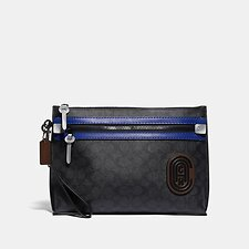 Image of Coach Australia CHARCOAL/SPORT BLUE ACADEMY POUCH IN SIGNATURE CANVAS WITH COACH PATCH