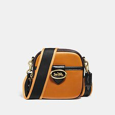 Image of Coach Australia B4/SAFFRON LEATHER MULTI KAT CAMERA BAG IN COLORBLOCK