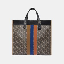 Image of Coach Australia B4/BROWN BLACK MULTI FIELD TOTE 40 WITH HORSE AND CARRIAGE PRINT AND VARSITY STRIPE