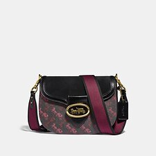 Image of Coach Australia B4/BLACK/BLACK KAT SADDLE BAG WITH HORSE AND CARRIAGE PRINT