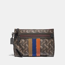 Image of Coach Australia BROWN/TAN ACADEMY POUCH WITH HORSE AND CARRIAGE PRINT AND VARSITY STRIPE