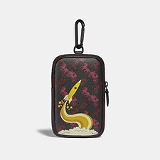 Image of Coach Australia BLACK/RED HYBRID POUCH 10 WITH HORSE AND CARRIAGE PRINT AND ROCKET