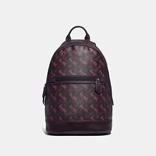 Image of Coach Australia JI/BLACK RED BARROW BACKPACK WITH HORSE AND CARRIAGE PRINT