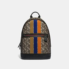 Image of Coach Australia JI/BLACK BROWN BARROW BACKPACK WITH HORSE AND CARRIAGE PRINT AND VARSITY STRIPE