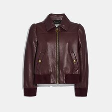 Image of Coach Australia CRANBERRY LEATHER TAILORED BOMBER JACKET
