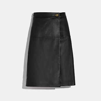 Image of Coach Australia  LEATHER SKIRT WITH TURNLOCK