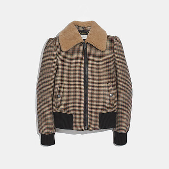 Image of Coach Australia  CHECK BOMBER JACKET WITH REMOVABLE SHEARLING COLLAR