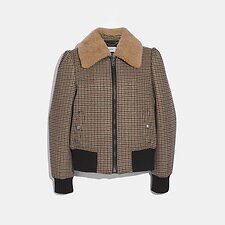 Image of Coach Australia BROWN CHECK BOMBER JACKET WITH REMOVABLE SHEARLING COLLAR