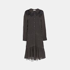 Image of Coach Australia BLACK DOT GEORGETTE PLEATED DRESS