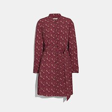 Image of Coach Australia RED/PINK HORSE AND CARRIAGE PRINT PLEATED SHIRT DRESS