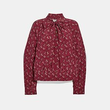 Image of Coach Australia RED/PINK HORSE AND CARRIAGE PRINT TIE NECK BLOUSE