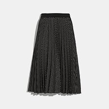 Image of Coach Australia BLACK MICRO DOT PLEATED SKIRT