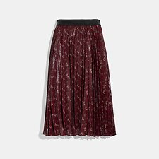 Image of Coach Australia RED LUNAR NEW YEAR HORSE AND CARRIAGE PRINT PLEATED SKIRT