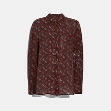 Image of Coach Australia RED LUNAR NEW YEAR HORSE AND CARRIAGE PRINT SHIRT