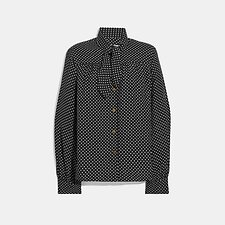 Image of Coach Australia BLACK DOT PRINT TIE BLOUSE