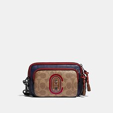 Image of Coach Australia PX0 PACER CONVERTIBLE DOUBLE POUCH IN COLORBLOCK SIGNATURE CANVAS WITH COACH PATCH