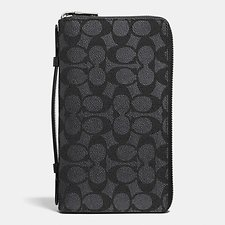 Image of Coach Australia CHARCOAL Double Zip Travel Organizer In Embossed Signature Canvas