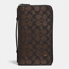 Image of Coach Australia MAHOGANY Double Zip Travel Organizer In Embossed Signature Canvas