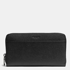 Image of Coach Australia BLACK DOCUMENT WALLET IN CROSSGRAIN LEATHER