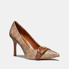 Image of Coach Australia TAN/RUST WAVERLY PUMP IN SIGNATURE CANVAS
